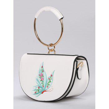 Metal Ring Faux Leather Embroidery Tote Bag - WHITE/GREEN