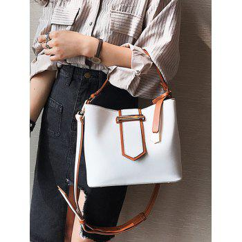 Metal Embellished PU Leather Tote Bag - WHITE
