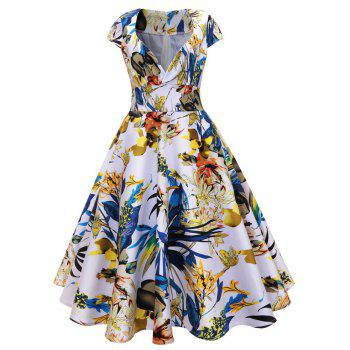 Vintage Floral Surplice Midi A Line Dress