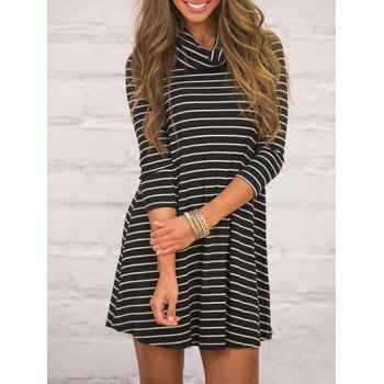 Cowl Neck Striped T Shirt Swing Dress