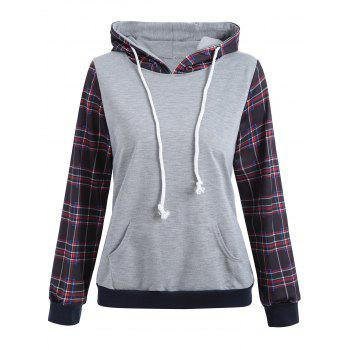 Drawstring Plaid Panel Pullover Hoodie