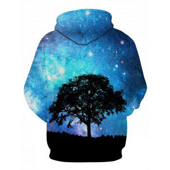 3D Galaxy Tree Print Pullover Hoodie - COLORMIX 2XL