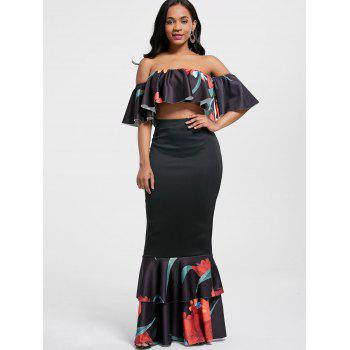 Floral Ruffle Crop Top and Mermaid Skirt - BLACK S
