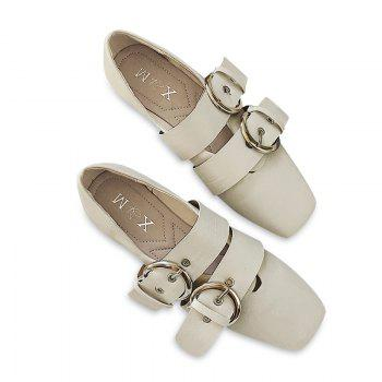 Slip On Double Buckles Strap Flat Shoes