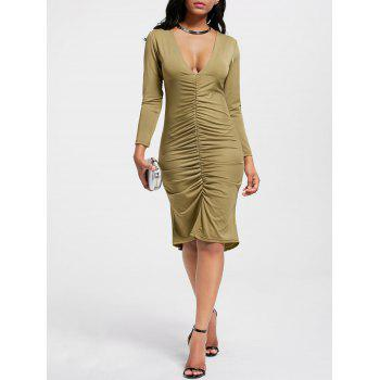 Plunging Neck Scrunch High Low Dress