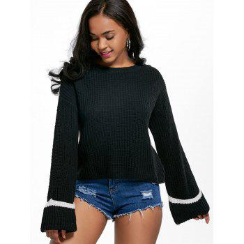 Flare Cuff Sleeve Two Tone Sweater - BLACK ONE SIZE
