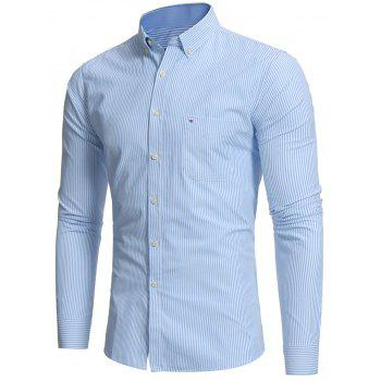 Button Down Embroidered Pocket Stripe Shirt - BLUE 2XL
