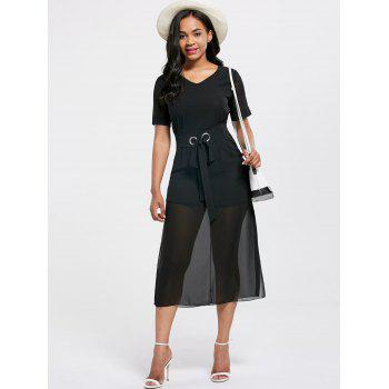V Neck Belted Midi Chiffon Dress - BLACK L