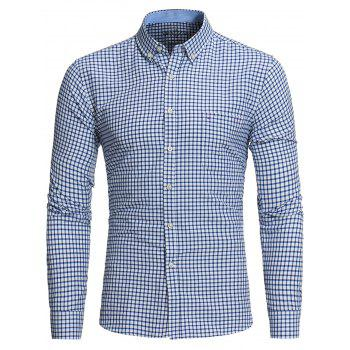 Button Down Embroidered Pocket Plaid Shirt