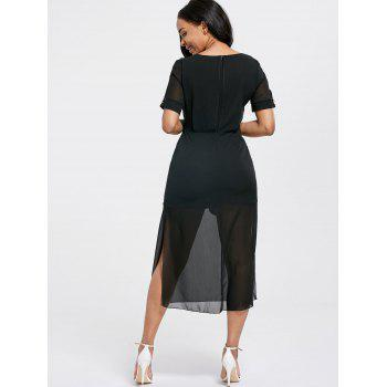 V Neck Belted Midi Chiffon Dress - S S