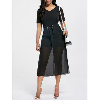 V Neck Belted Midi Chiffon Dress - BLACK S