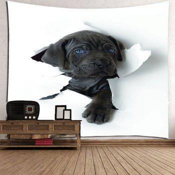 Through The Wall Puppy Printed Waterproof Hanging Tapestry - BLACK W59 INCH * L51 INCH