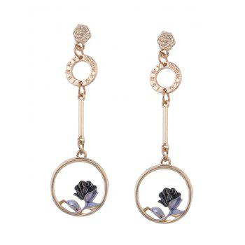 Flower Hoop Pendant Embellished Long Earrings