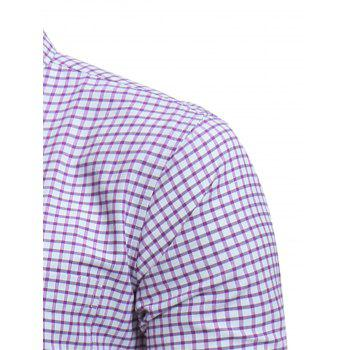 Button Down Embroidered Pocket Plaid Shirt - PURPLE 4XL