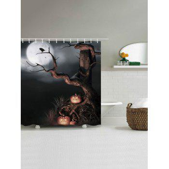 Horrific Night Shower Curtain Halloween Decor - BLACK GREY W71 INCH * L79 INCH