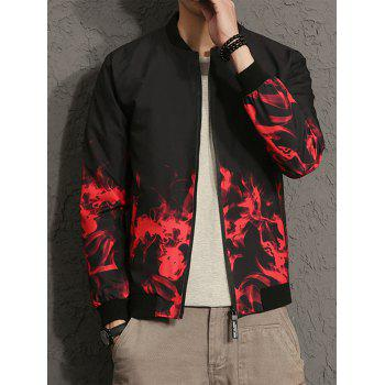 Zip Up Flame Print Bomber Jacket - RED L