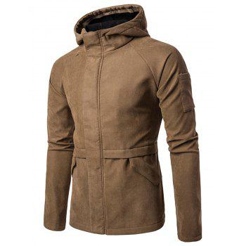 Faux Suede High Neck Hooded Jacket