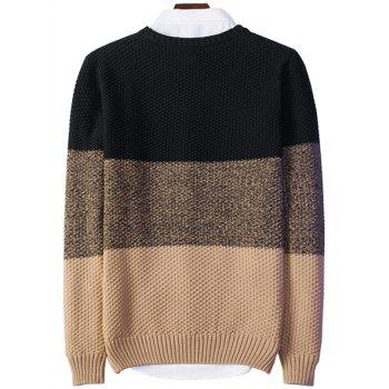 Popcorn Knitted Crew Neck Color Block Sweater - BLACK 2XL
