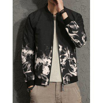Zip Up Flame Print Bomber Jacket - WHITE 4XL