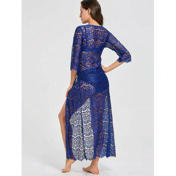 Tied Maxi Lace Cover Up Kimono - BLUE BLUE