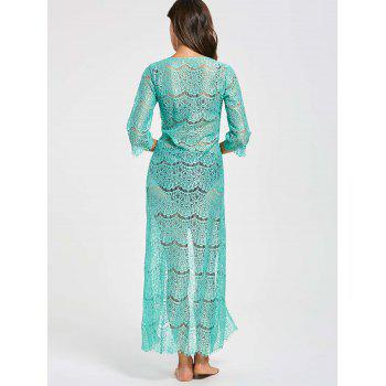 Tied Maxi Lace Cover Up Kimono - GREEN ONE SIZE