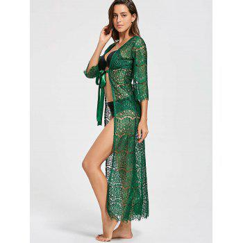 Tied Maxi Lace Cover Up Kimono - ONE SIZE ONE SIZE