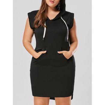 Plus Size Sleeveless Drawstring Hoodie Dress