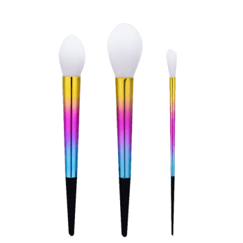 3Pcs Ombre Tapered Handle Makeup Brush Set -  COLORMIX