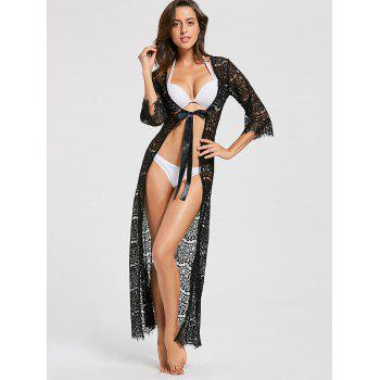 Tied Maxi Lace Cover Up Kimono - BLACK BLACK