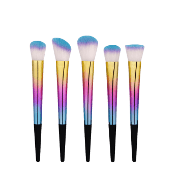 Tapered Glitter Handle Makeup Brushes Set - COLORMIX