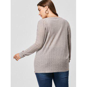 Plus Size Surplice Top - GRAY 5XL