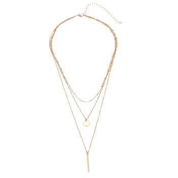 Round Disc Bar Layered Pendant Necklace - GOLDEN