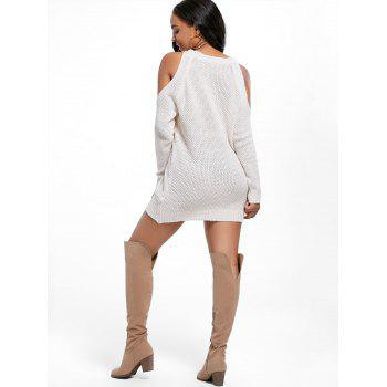 Open Shoulder Mini Tunic Sweater Dress - OFF WHITE ONE SIZE