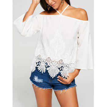 Crochet Lace Insert Cold Shoulder Blouse