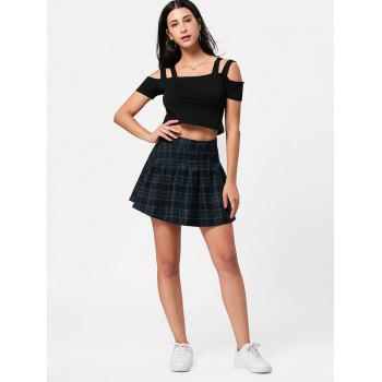 High Waist Plaid Mini Pleated Skirt - COLORMIX COLORMIX
