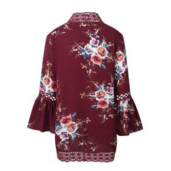 Lace Panel Flare Sleeve Kimono - RED S