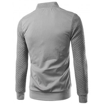 Zip Up Rhombus Embossing Jacket - LIGHT GRAY 5XL
