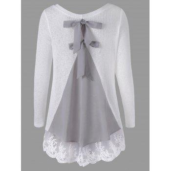 Back Bowknot Lace Panel Long Sleeve Knit Top