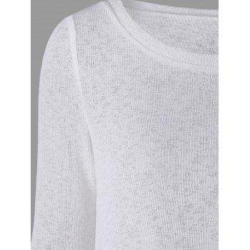 Back Bowknot Lace Panel Long Sleeve Knit Top - WHITE 2XL