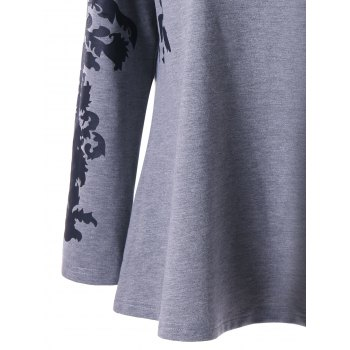 Print Plus Size Raglan Sleeve Top - GRAY 3XL