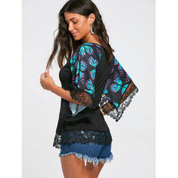 Butterfly Raglan Sleeve T-shirt with Lace Trim - BREEZY M