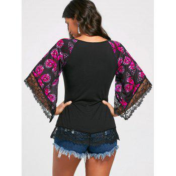 Butterfly Raglan Sleeve T-shirt with Lace Trim - TUTTI FRUTTI M