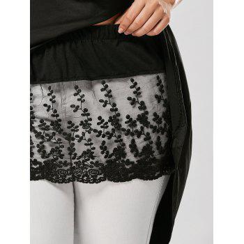 Plus Size Lace Extender Sheer Mini Skirt - BLACK XL