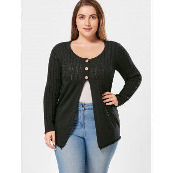 Plus Size Cable Knit Button Up Cardigan - XL XL