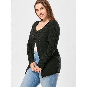Plus Size Cable Knit Button Up Cardigan - 3XL 3XL