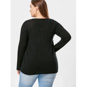 Plus Size Cable Knit Button Up Cardigan - BLACK BLACK