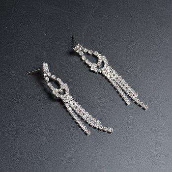Sparkly Rhinestoned Teardrop Fringed Jewelry Set - SILVER