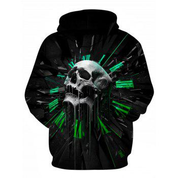 3D Graphic Skull Print Pullover Hoodie - BLACK 3XL