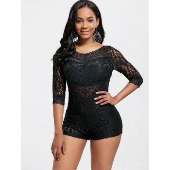 Alluring See-Through V-Neck 3/4 Sleeve Lace Romper For Women - BLACK M