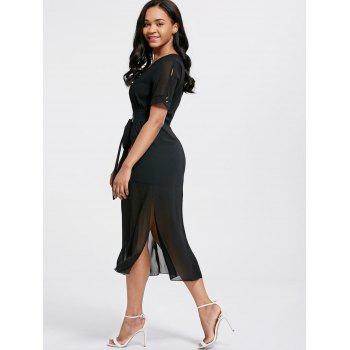 V Neck Belted Midi Chiffon Dress - BLACK XL